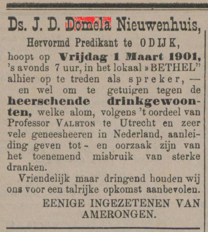 advertentie spreekbeurt J D Domela Nieuwenhuis