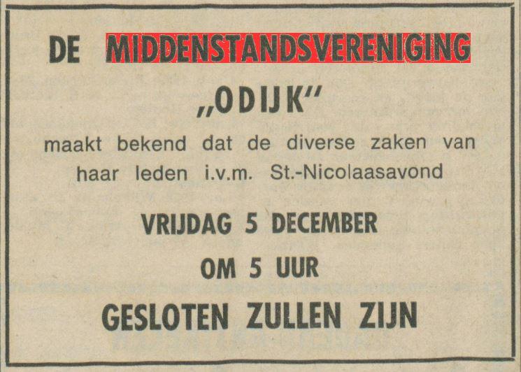 Sinterklaas advertentie middenstand Odijk 1969