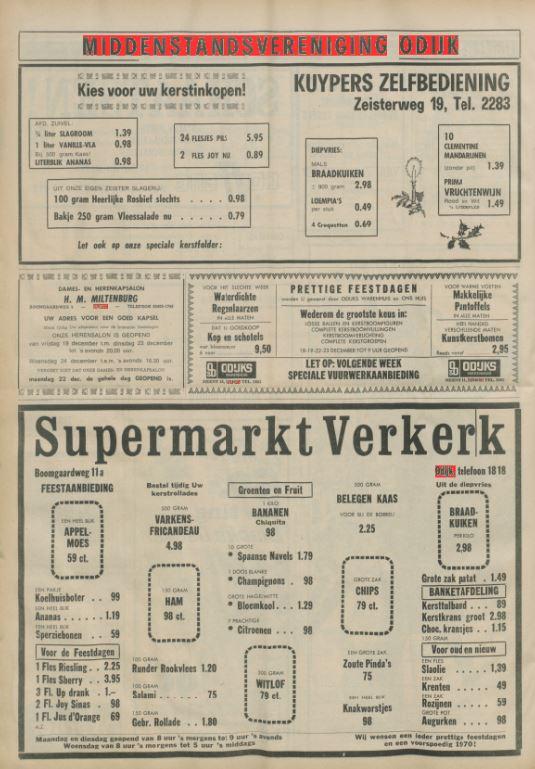 advertentie van de middenstandsvereniging van Odijk 1969 - Het Trefpunt