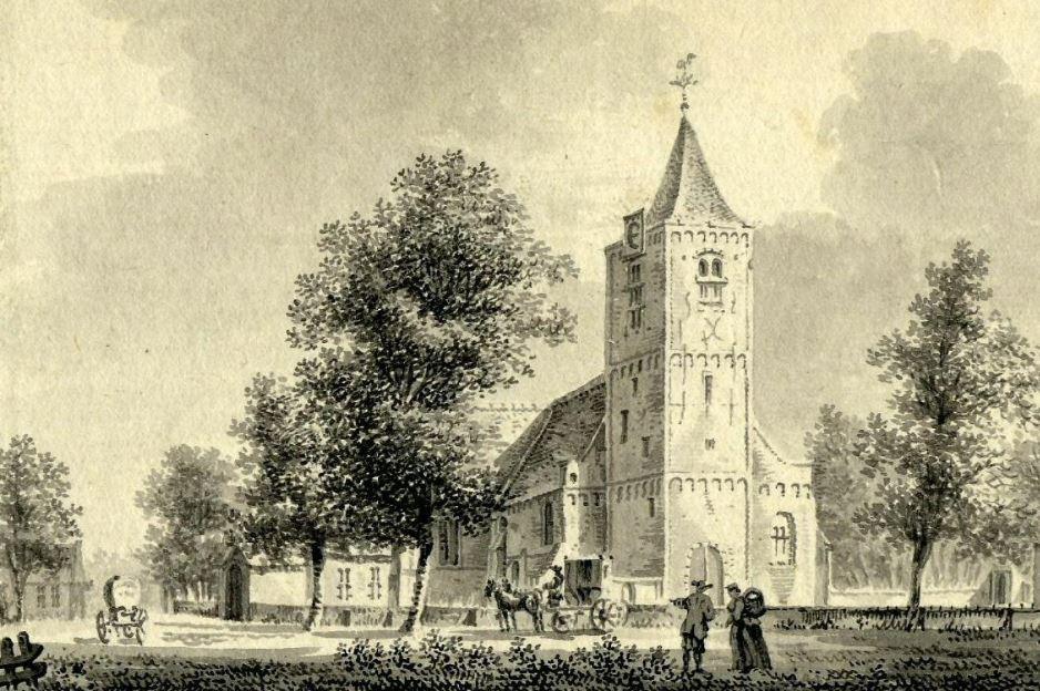 Kerk van Odijk rond 1750, tekening: P. van Liender (foto: Het Utrechts Archief)