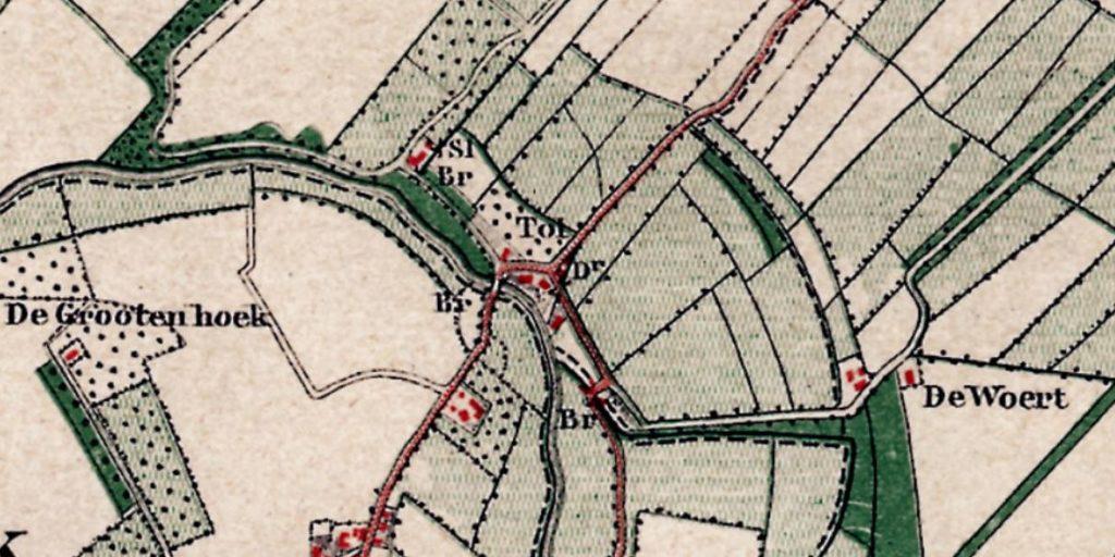 Brug van Odijk op topografische kaart rond 1870.