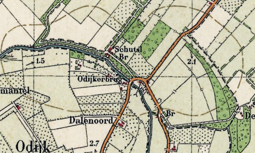 Odijkerbrug op topografische kaart rond 1947 (geen tol meer)